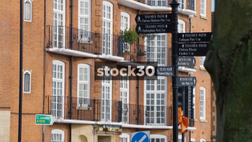 Tourist Information And Direction Signs In Chelsea, London, UK