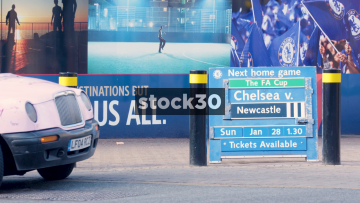The Next Home Game Sign Outside Chelsea Football Club In London, UK