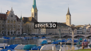 View Over Limmat River In Zürich Showing Fraumünster and St.Peter Churches, Switzerland