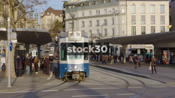 Trams In Zürich City Centre, Switzerland