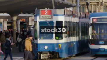 Tram Departing From Bellevueplatz In Zürich, Switzerland