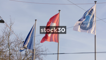 Slow Motion Shot Of Swiss Flag In Zürich, Switzerland