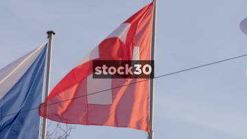 Slow Motion Close Up Of Swiss Flag In Zürich, Switzerland