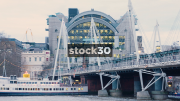 Golden Jubilee Bridges And The Top Of Charing Cross Station In London, UK