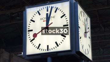 Clock In Zürich Hauptbahnhof Railway Station, Switzerland