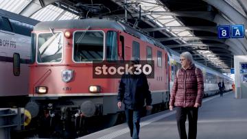 Diesel Train In Zurich Hauptbahnhof Railway Station, Switzerland