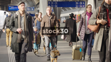 Slow Motion Shot Of Passengers Walking Along Platform At Zurich Hauptbahnhof Railway Station, Switzerland