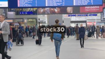 Slow Motion Shot Of Passengers In Zürich Hauptbahnhof Railway Station, Switzerland