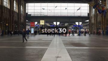 Interior Shot Of Zürich Hauptbahnhof Railway Station, Switzerland