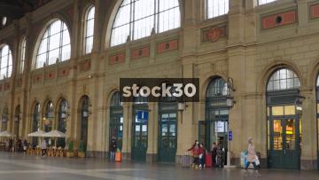 Two Interior Panning Shots Of Zürich Hauptbahnhof Railway Station, Switzerland