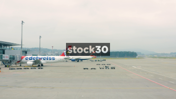 Edelweiss Air And British Airways Planes At Zürich Airport, Switzerland