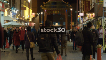 Slow Motion View Down Gerrard Street In Chinatown In London, UK