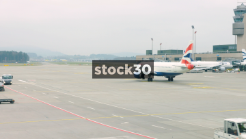 British Airways Passenger Plane Taxying At Zürich Airport, Switzerland