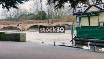 Footbridge Across The River Avon In Stratford-Upon-Avon, UK