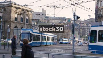 Trams And Traffic Passing On Bahnhofstrasse In Zürich, Switzerland