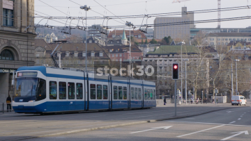 Trams Passing Near Hauptbahnhof In Zürich, Switzerland