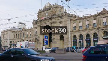 Tram Passing By Hauptbahnhof In Zürich, Switzerland
