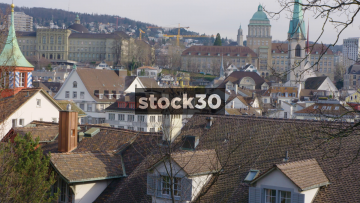 Zürich Rooftops With Mountains In Background, Switzerland