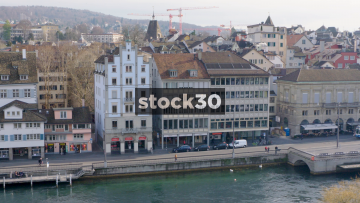 Wide Shot Of Limmat River And Limmatquai In Zürich, Switzerland