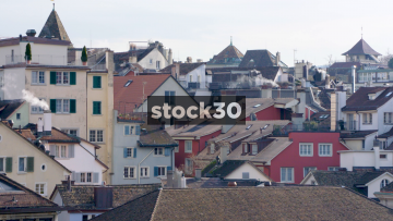 The Rooftops Of Zürich, With Smoking Chimneys, Switzerland