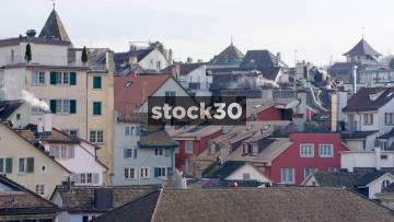 The Rooftops Of Zürich, With Smoking Chimneys, Switzerland