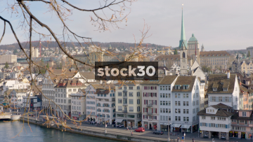 Wide Shot Of Zürich Skyline And Limmatquai, Switzerland