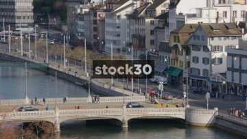 Bridge Over Limmat River In Zürich With Passing Tram, Switzerland
