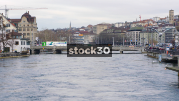 Slow Motion Shot Of The Limmat River With Seagulls In Zürich, Switzerland