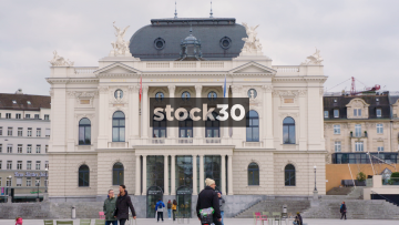 Wide Shot Of Zürich Opera House At Seschseläutenplatz, Switzerland