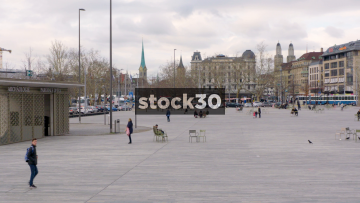 Timelapse Shot Of Seschseläutenplatz By Zurich Opera House, Switzerland