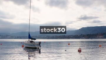 Lake Zürich Wide Shot With Sailing Boat, Switzerland