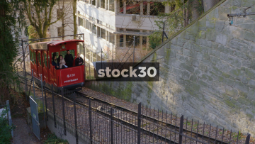 Train Arriving At Station On Polybahn Funicular Railway In Zürich, Switzerland