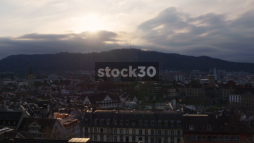 Zürich Skyline, Early Evening Time Approaching Sunset, Switzerland