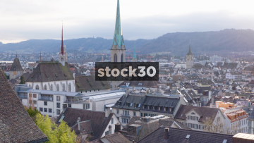 Zürich Rooftops In Early Evening, Including Fraumunster Church, Switzerland
