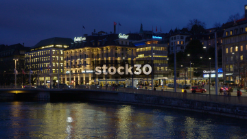 Zürich City Centre At Night Including Central Plaza Hotel And Tram, Switzerland