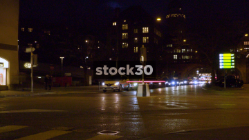Timelapse Of Busy Road Junction In Zürich At Night, Switzerland