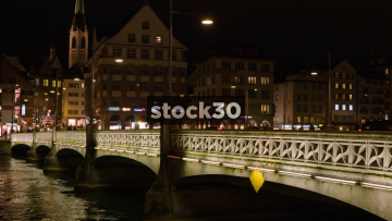 Night Shot Of Rudolf Brun Bridge Over Limmat River In Zürich, Switzerland