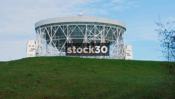 Timelapse Shot Of The Lovell Radio Telescope Rotating At Jodrell Bank In Cheshire, UK