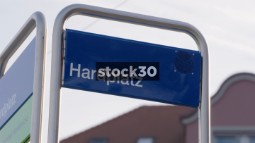 Hardplatz Tram Stop In Zürich. Zoom Out From Sign To Arriving Tram, Switzerland