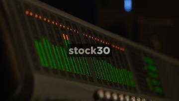 Audio Level Meters On Mixing Desk In Recording Studio