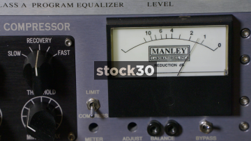 Gain Reduction Meter On Manley Variable MU Limiter Compressor In Recording Studio