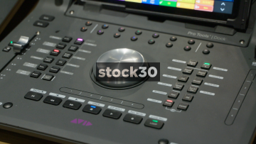 Operating Avid Pro Tools Dock And S3 Control Surface In Recording Studio