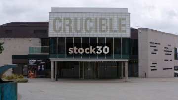 Three Angles Of The Crucible Theatre In Sheffield, UK