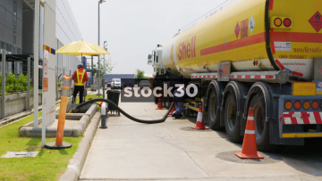 A Shell Tanker Refuelling A Garage On Sirisothorn Road Near Bangkok, Thailand