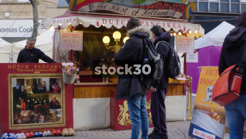 Dutch Pancake Stall In Sheffield Street Market, UK