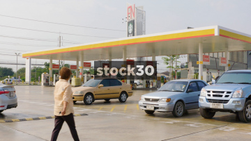 The Forecourt Of A Shell Garage On Sirisothorn Road Near Bangkok, Thailand