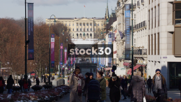 View Down Karl Johans Gate In Oslo With Royal Palace In Background, Norway