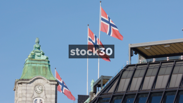 Three Norweigan Flags In Oslo, Norway