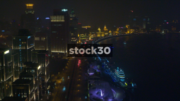 Nighttime View Of Huangpu River And Zhongshan East 2nd Road In Shanghai, China