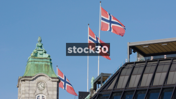Three Norweigan Flags In Slow Motion, Norway
